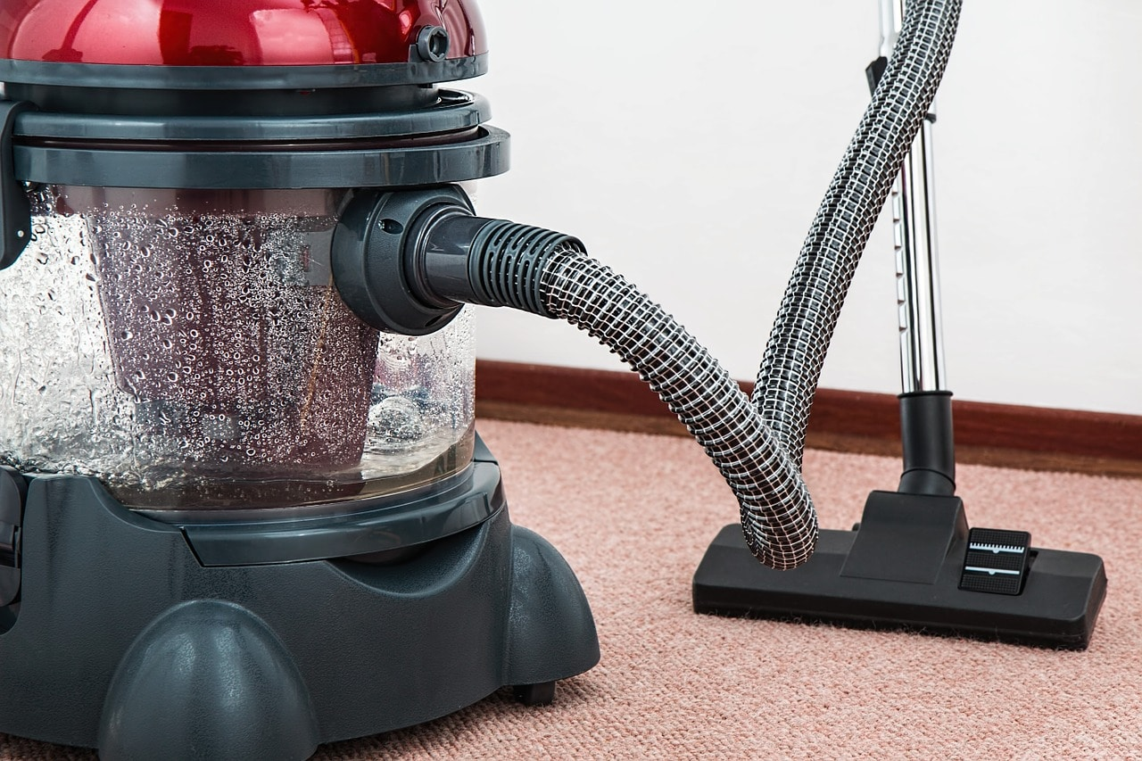 clean garage with vacuum cleaner